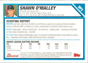 2007 Bowman - Prospects Gold #BP3 Shawn O'Malley Back