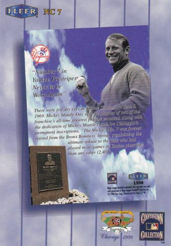 1998 Fleer Tradition Monumental Moments #2MM Mickey Mantle New York Yankees Card