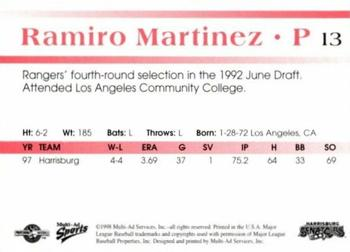 1998 Multi-Ad Harrisburg Senators #13 Ramiro Martinez Back
