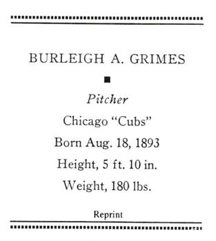1933 (R305) Reprints #NNO Burleigh A. Grimes Back