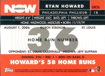 2007 Topps - Generation Now #GN36 Ryan Howard Back