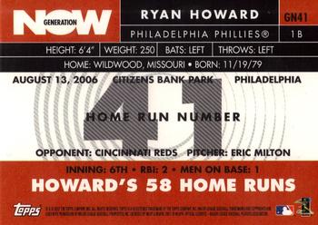 2007 Topps - Generation Now #GN41 Ryan Howard Back