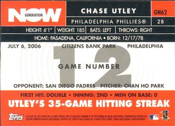 2007 Topps - Generation Now #GN62 Chase Utley Back