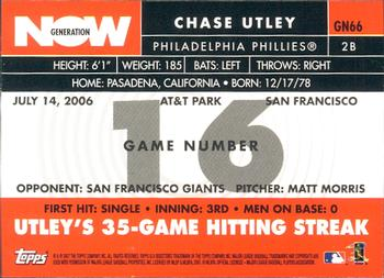 2007 Topps - Generation Now #GN66 Chase Utley Back