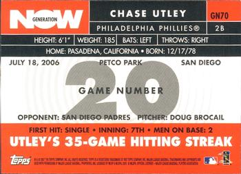 2007 Topps - Generation Now #GN70 Chase Utley Back