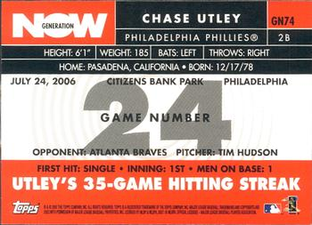 2007 Topps - Generation Now #GN74 Chase Utley Back