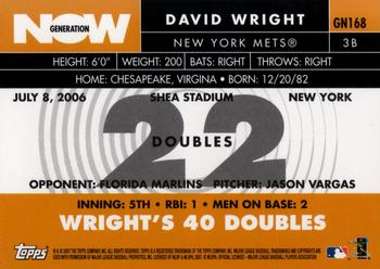 2007 Topps - Generation Now #GN168 David Wright Back