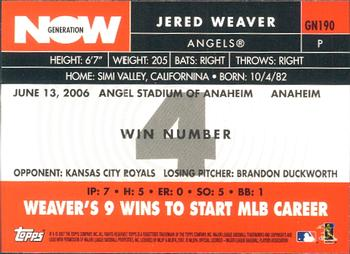 2007 Topps - Generation Now #GN190 Jered Weaver Back