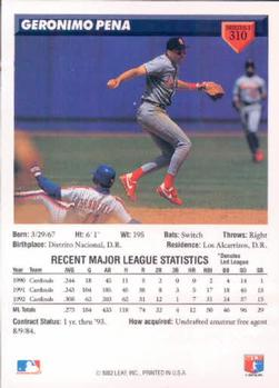 1993 Donruss #310 Geronimo Pena Back