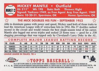 2007 Topps Chrome - Mickey Mantle Story #MMS12 Mickey Mantle Back