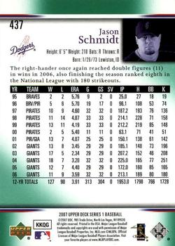 2007 Upper Deck - Predictor Green #437 Jason Schmidt Back