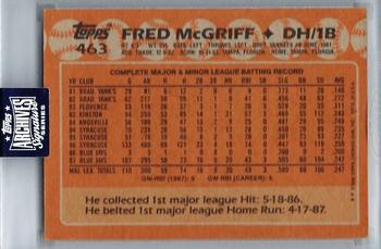 2020 Topps Archives Signature Series Retired Player Edition - Fred McGriff #463 Fred McGriff Back