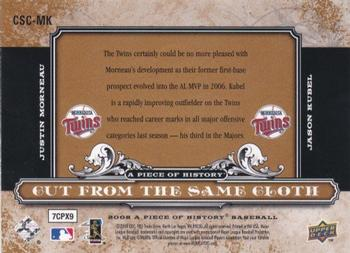 2008 Upper Deck A Piece of History - Cut From the Same Cloth #CSC-MK Justin Morneau / Jason Kubel Back