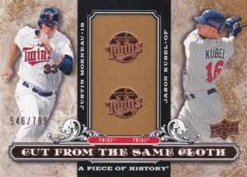 2008 Upper Deck A Piece of History - Cut From the Same Cloth #CSC-MK Justin Morneau / Jason Kubel Front