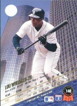1993 Leaf #148 Lou Whitaker Back