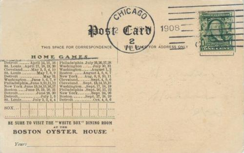 1907 George W. Hull Postcards #NNO Nick Altrock Back