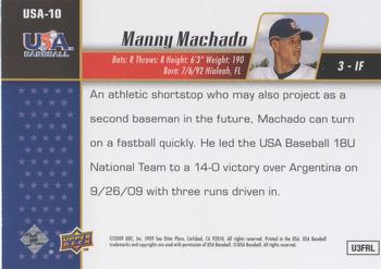 2009 Upper Deck Signature Stars - USA Star Prospects #USA-10 Manny Machado Back