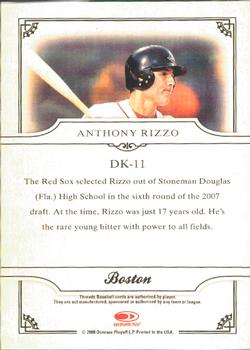 2008 Donruss Threads - Diamond Kings #DK-11 Anthony Rizzo Back
