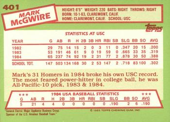 1985 Topps - Tiffany #401 Mark McGwire Back