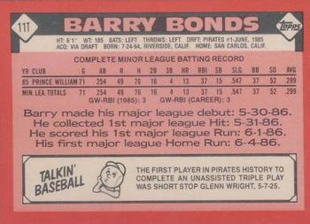 1986 Topps Traded - Tiffany #11T Barry Bonds Back