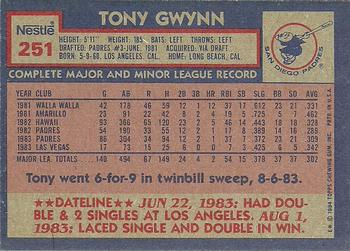1984 Topps Nestle #251 Tony Gwynn Back