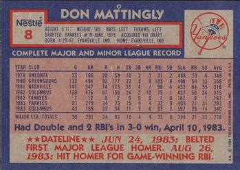 1984 Topps Nestle #8 Don Mattingly Back