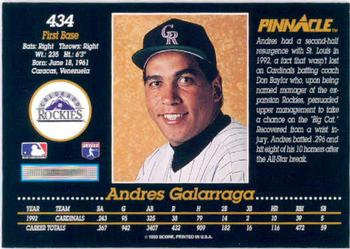 1993 Pinnacle #434 Andres Galarraga Back