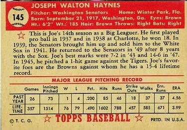1952 Topps #145 Joe Haynes Back