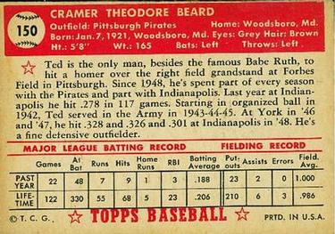 1952 Topps #150 Ted Beard Back