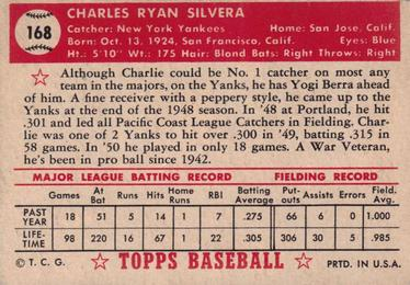 1952 Topps #168 Charlie Silvera Back