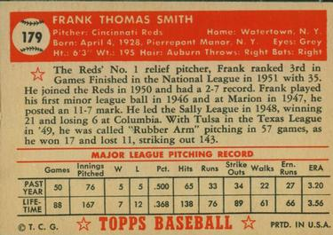 1952 Topps #179 Frank Smith Back