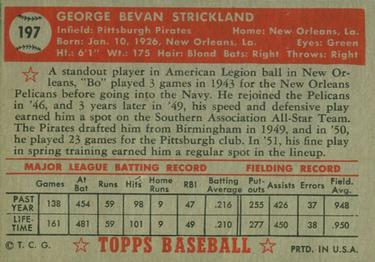 1952 Topps #197 George Strickland Back