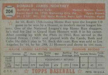 1952 Topps #204 Ron Northey Back