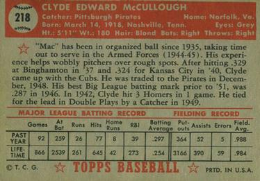 1952 Topps #218 Clyde McCullough Back