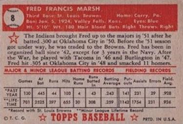 1952 Topps #8 Fred Marsh Back