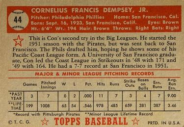 1952 Topps #44 Con Dempsey Back