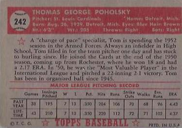1952 Topps #242 Tom Poholsky Back
