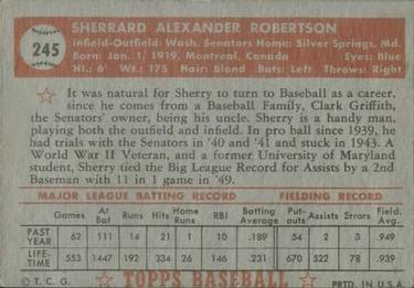 1952 Topps #245 Sherry Robertson Back