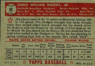 1952 Topps #51 Jim Russell Back