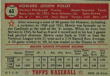 1952 Topps #63 Howie Pollet Back