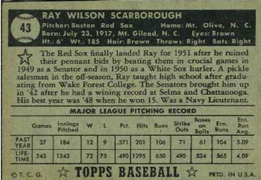 1952 Topps #43b Ray Scarborough Back