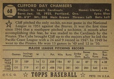1952 Topps #68b Cliff Chambers Back