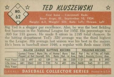 1953 Bowman Color #62 Ted Kluszewski Back
