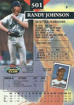 1993 Stadium Club #501 Randy Johnson Back