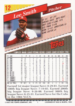 1993 Topps #12 Lee Smith Back