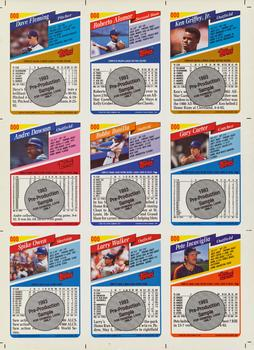 1993 Topps #000 1993 Pre-Production Uncut Sample Sheet Back