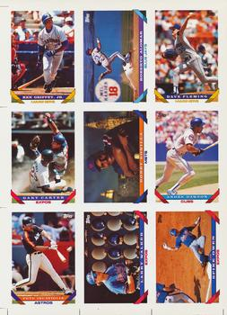 1993 Topps #000 1993 Pre-Production Uncut Sample Sheet Front