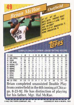 1993 Topps #49 Brian McRae Back