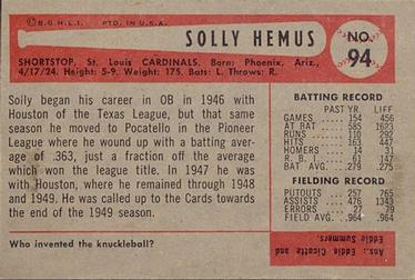 1954 Bowman #94 Solly Hemus Back