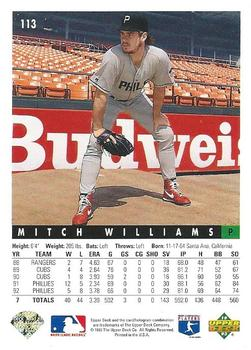 1993 Upper Deck #113 Mitch Williams Back